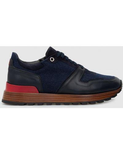 Кожаные кроссовки - синие Isaia