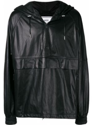 Кожаная куртка с капюшоном - черная Ami Paris