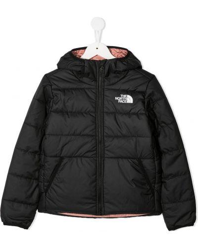 С рукавами классическая черная куртка с капюшоном с карманами The North Face Kids