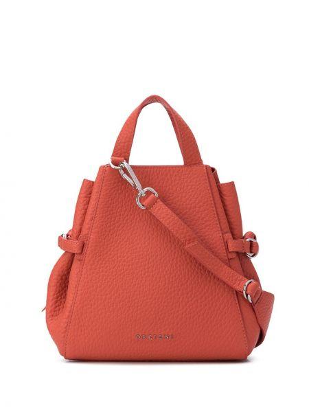 Оранжевая сумка-тоут круглая с карманами из натуральной кожи Orciani