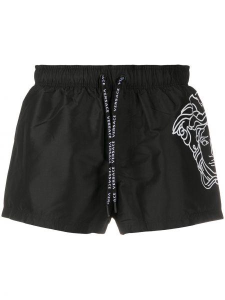 С кулиской черные короткие шорты с высокой посадкой Versace