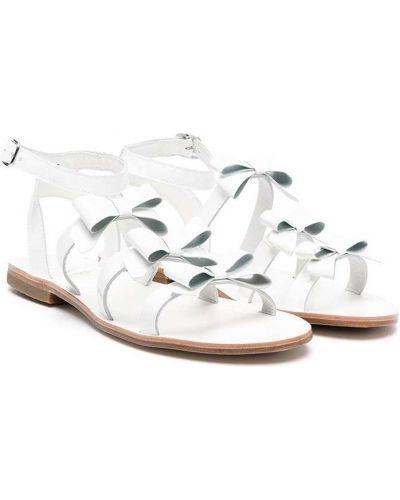 Открытые белые кожаные сандалии Gallucci Kids