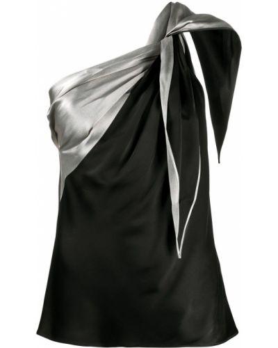Черный шелковый топ без рукавов Helmut Lang
