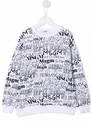 Biała bluza z długimi rękawami Msgm Kids