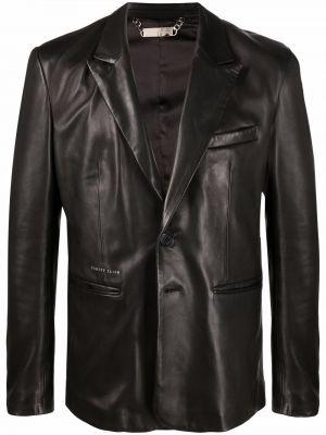 Черный кожаный пиджак с карманами на пуговицах Philipp Plein