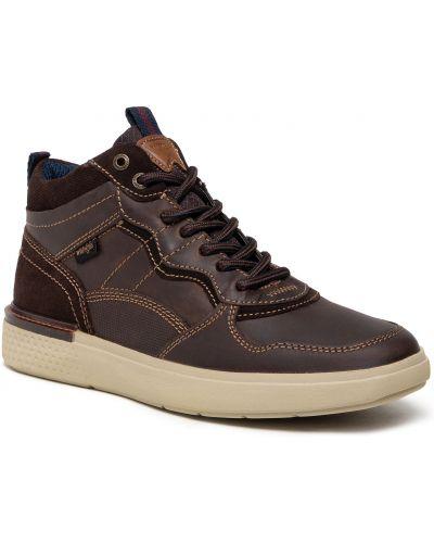 Buty sportowe skorzane - brązowe Wrangler