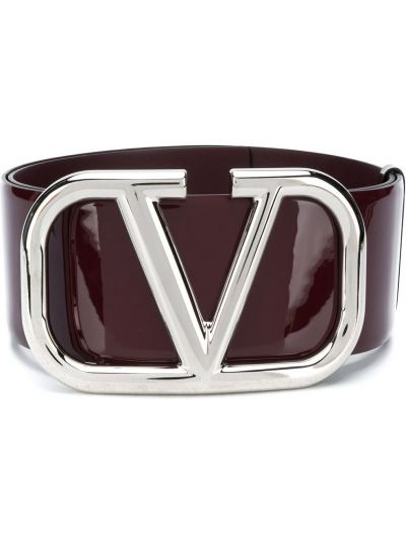 Кожаный фиолетовый ремень с пряжкой с перфорацией Valentino Garavani