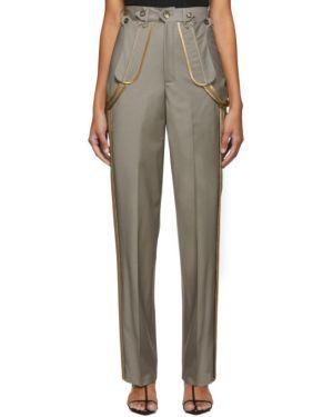 Шерстяные коричневые брюки с поясом на пуговицах Situationist