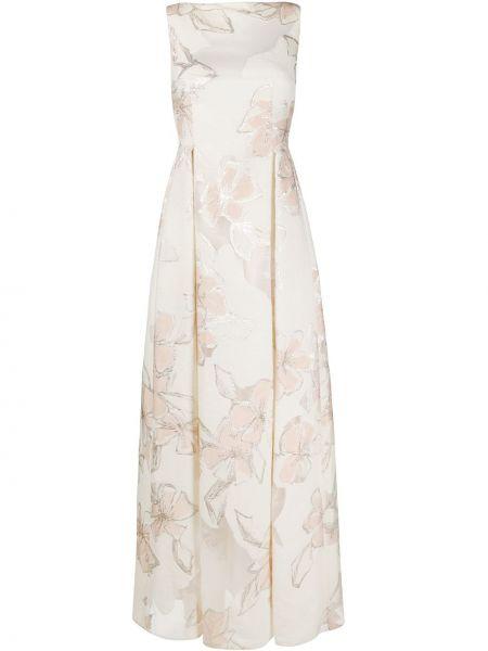 Приталенное шелковое платье макси со складками на молнии Talbot Runhof