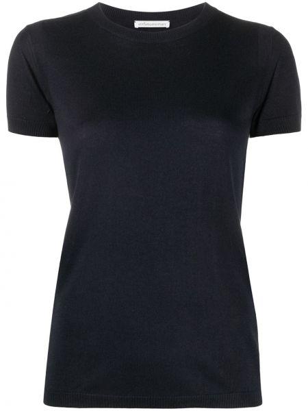 Шелковая синяя футболка в рубчик с круглым вырезом Stefano Mortari