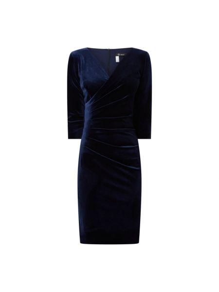 Niebieska sukienka koktajlowa z aksamitu Paradi