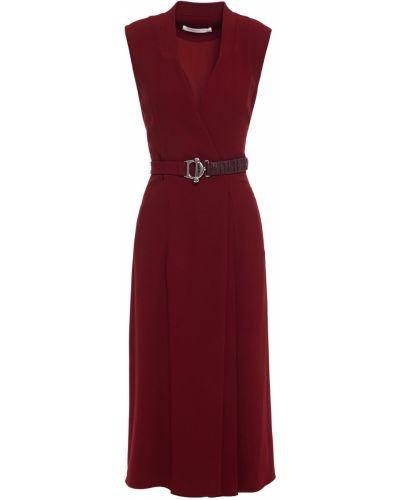 Czerwona sukienka midi skórzana z paskiem Victoria Beckham