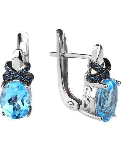 Серебряные серьги голубой с топазом Sandara