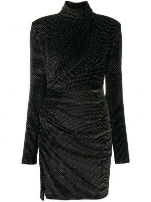 Черное платье мини с оборками с воротником на молнии Redemption