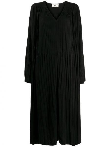 Шелковое черное платье с V-образным вырезом свободного кроя Sminfinity