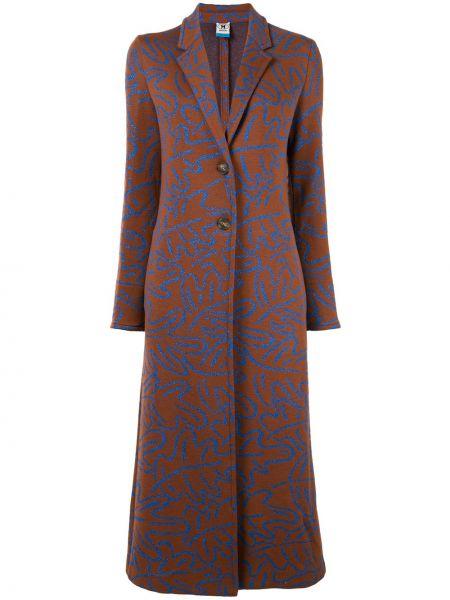 Однобортное коричневое шерстяное длинное пальто M Missoni