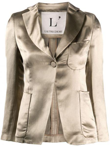 Сатиновый приталенный удлиненный пиджак с карманами L'autre Chose