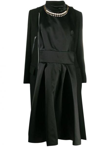 Шерстяное черное длинное пальто на молнии Sacai