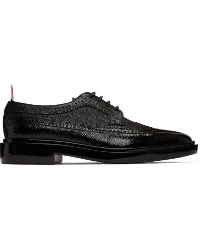 Koronkowa czarny buty brogsy zasznurować z kołnierzem Thom Browne