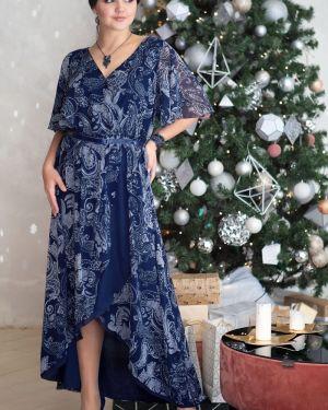С рукавами шифоновое вечернее платье с запахом эластичное прима линия