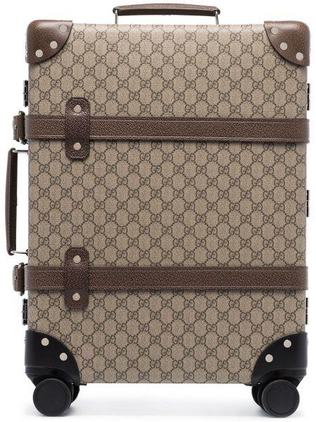 Brązowa walizka skórzana Gucci