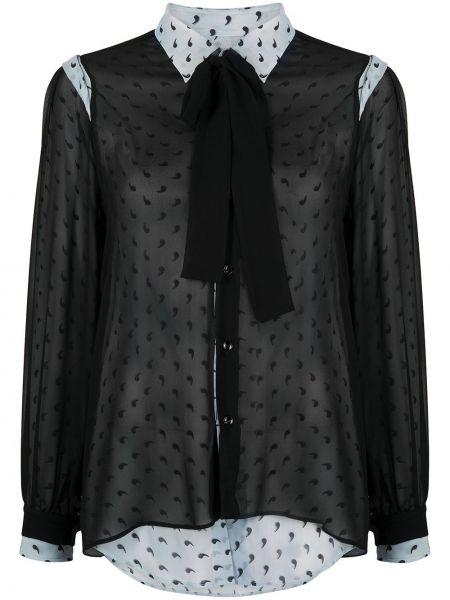 Шелковая рубашка - черная Maison Margiela