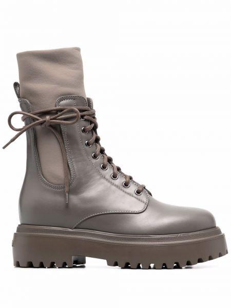 Кожаные ботинки - серые Le Silla