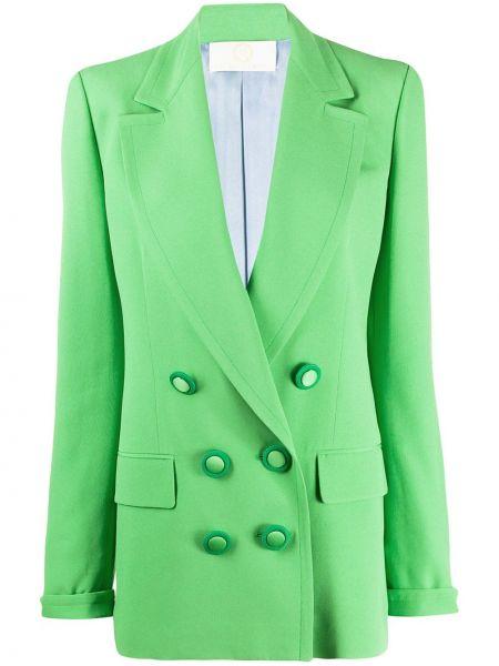 Зеленый пиджак двубортный с карманами Sara Battaglia