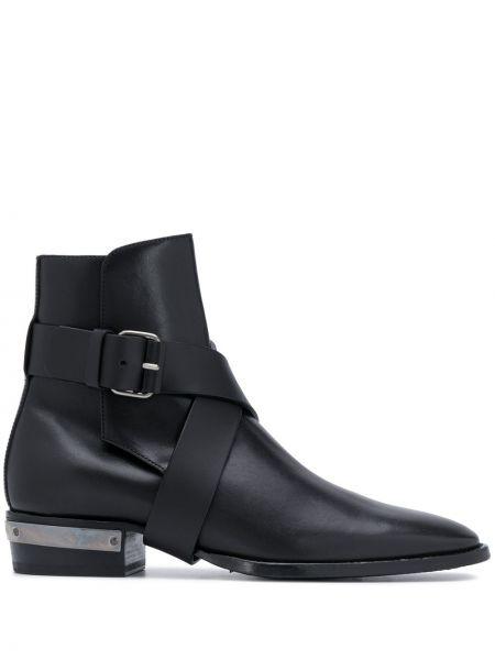 Кожаные черные ботинки на каблуке с пряжкой на каблуке Balmain