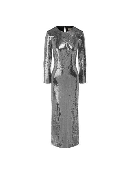 Серебряное приталенное платье миди с пайетками эластичное A La Russe