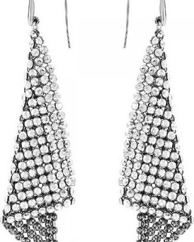 Серьги металлические серебряный Swarovski