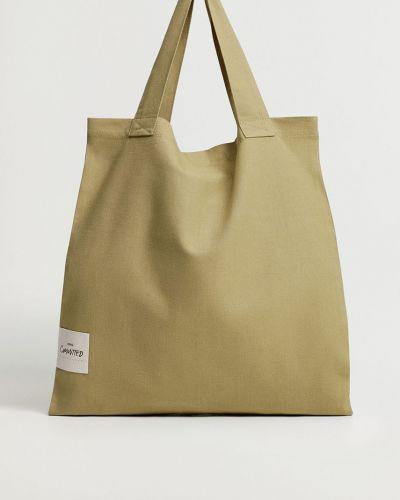 Złota torba z krótkimi uchwytami Mango