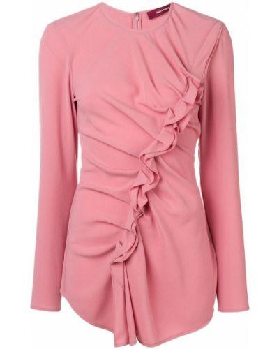 Блузка с длинным рукавом розовая с рюшами Sies Marjan
