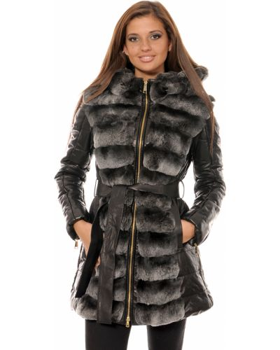 Черное пальто с капюшоном Mor`a