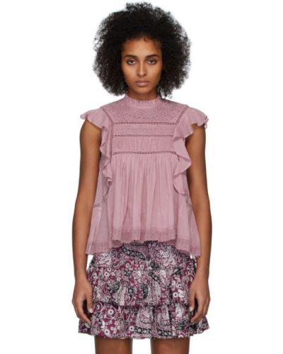Блузка без рукавов с воротником-стойкой розовая Isabel Marant Etoile