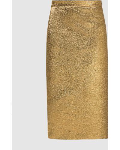 Золотистая юбка миди золотая Valentino