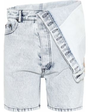 Белые джинсовые шорты со складками со стразами Y/project