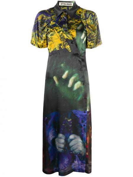 Асимметричное классическое платье миди с воротником с короткими рукавами Ottolinger