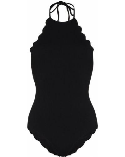 Пляжный черный купальник с шортами с вырезом эластичный Marysia