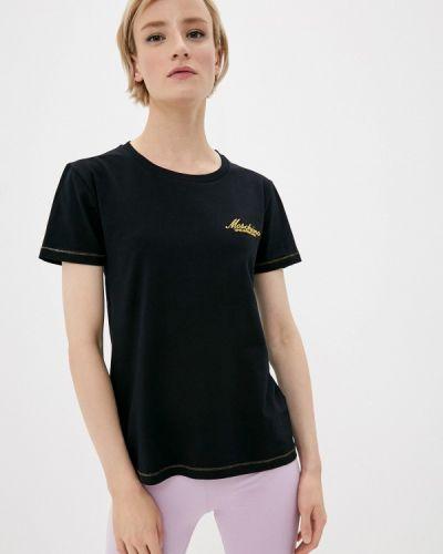 С рукавами черная футболка Moschino Swim