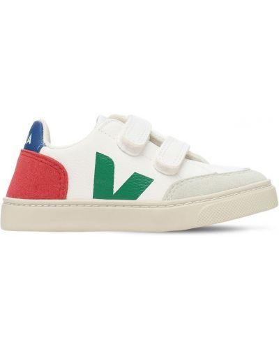 Bawełna skórzany biały skórzane sneakersy prążkowany Veja