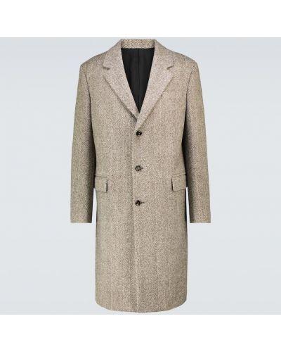 Бежевое шерстяное пальто Bottega Veneta