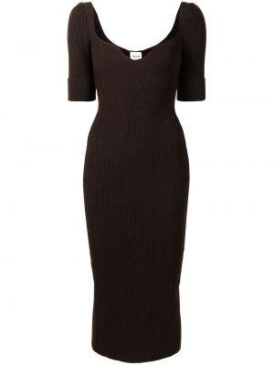 Коричневое шерстяное платье миди с короткими рукавами Khaite