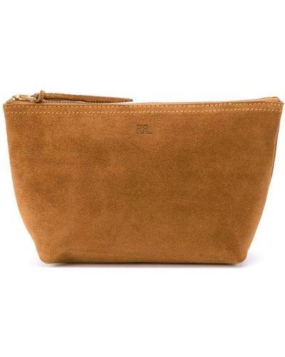 Замшевая коричневая маленькая сумка с тиснением Ralph Lauren
