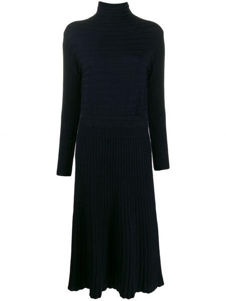 Шерстяное синее вязаное платье с воротником Molli