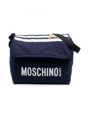 Хлопковая синяя косметичка с подкладкой Moschino Kids
