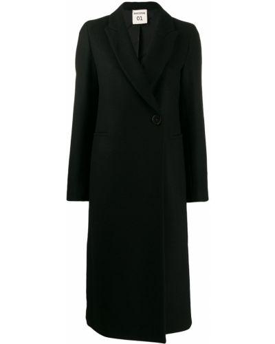 Однобортное черное длинное пальто с капюшоном Semicouture