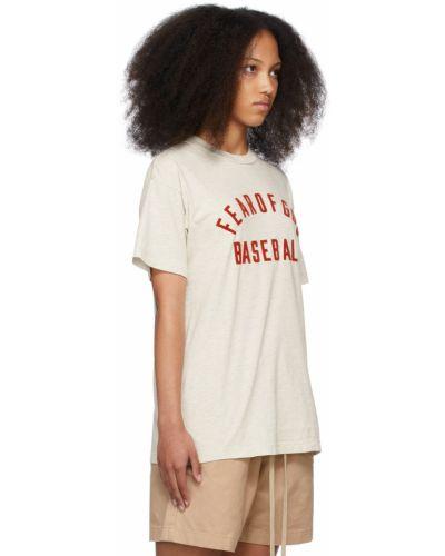 T-shirt bawełniana - beżowa Fear Of God