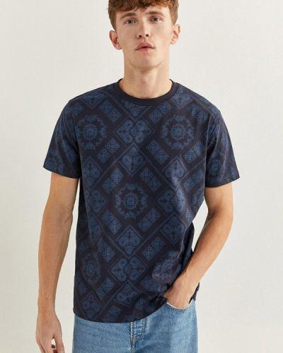 Синяя с рукавами футболка Springfield