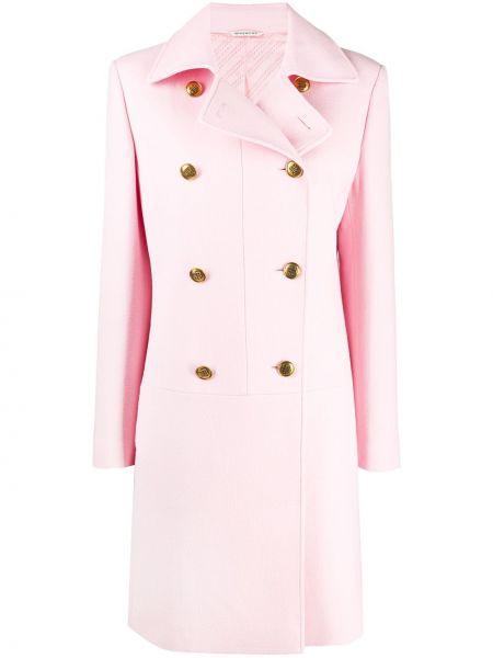 Шерстяное розовое пальто классическое двубортное Givenchy